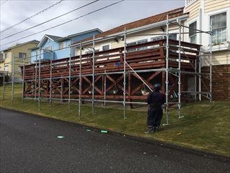 勝浦市 ウッドデッキのウッドステインプロテクター塗装前