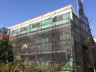 川崎市川崎区|ホワイトとブルーのツートンの外壁へ!屋根外壁塗装完工です!