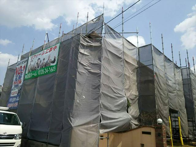 春日井市高座台にて外壁を超低汚染のリファインMF無機フッ素で施工です。