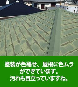 塗装が色あせ、ムラや汚れが目立っている屋根