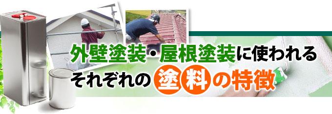 外壁塗装、屋根塗装に使われるそれぞれの塗料の特徴