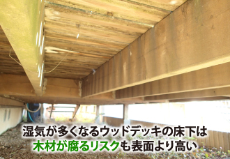 湿気が多くなるウッドデッキの床下は木材が腐るリスクも表面より高い
