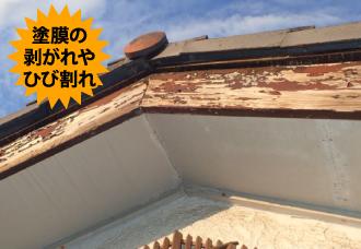 破風板の塗膜の剥がれ・ひび割れ