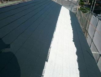 中塗りされた屋根
